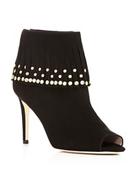Kate Spade New York Iselin Grommet Open Toe High Heel Booties Black