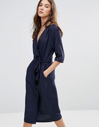 Neon Rose Relaxed Wrap Dress Navy