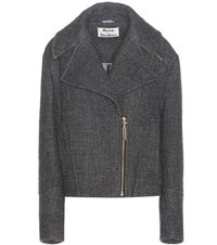 Acne Studios Anson Wool And Linen Blend Biker Jacket Grey