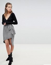 Morgan X Georgia May Ruffle Front Metallic Mini Skirt Silver