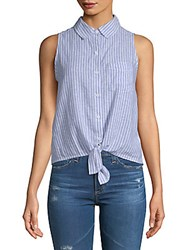 Beach Lunch Lounge Stripe Tie Front Top Navy