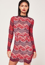 Missguided Lace Long Sleeve Open Back Bodycon Dress Burgundy