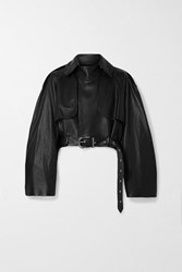 Khaite Krista Oversized Belted Leather Jacket Black