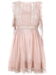 Red Valentino Lace Trim Flared Dress Pink And Purple