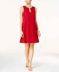 Msk Embellished Shift Dress Red