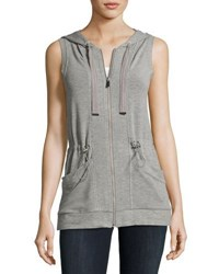 Neiman Marcus Long Hooded Drawstring Vest Light Gray