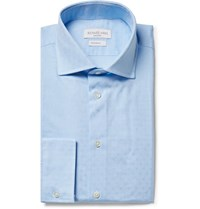 Richard James Blue Cutaway Collar Cotton Jacquard Shirt Blue