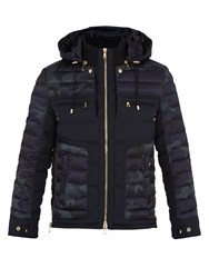 Balmain Camouflage Print Quilted Down Coat Navy