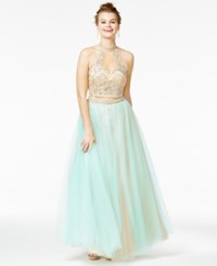 Say Yes To The Prom Juniors' 2 Pc. Embellished Ball Gown A Macy's Exclusive Mint Nude