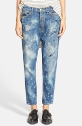 The Great 'The Mister Slouch' Hand Painted Distressed Boyfriend Jeans Worn Grey Wash