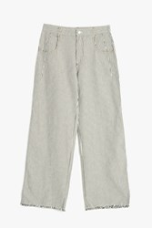 Alexander Wang Frayed Striped Trousers Ivory