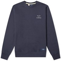Bleu De Paname Embroidered Logo Crew Sweat Blue