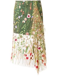 Marques Almeida Marques'almeida Floral Embroidered Tulle Layer Skirt Silk Polyamide Polyester Nude Neutrals