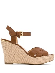 Michael Kors Collection Cross Strap Wedged Sandals Brown