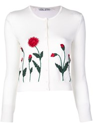 Oscar De La Renta Embroidered Floral Cardigan White