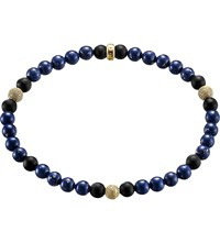 Thomas Sabo Rebel At Heart Gold Plated Sterling Silver And Obsidian Beaded Bracelet