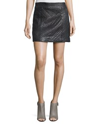 Nicole Miller Artelier Quilted Leather Mini Skirt Black