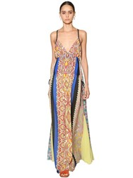 Etro Long Printed Silk Georgette Dress Multicolor
