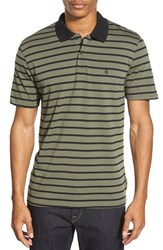 Men's Volcom 'Wowzer Stripe' Slim Fit Jersey Polo Blkboard