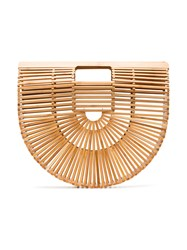 Cult Gaia Brown Ark Large Wooden Bag Nude And Neutrals