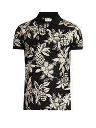 Saint Laurent Hibiscus Print Cotton Polo Shirt Black White