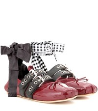 Miu Miu Buckle Embellished Patent Leather Ballerinas Red