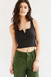 Bdg Henley Cropped Top Black