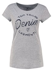 Tom Tailor Denim Print Tshirt Cement Grey Melange Mottled Grey