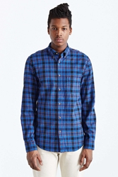 Barney Cools Long Sleeve Plaid Button Down Shirt Navy