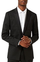 Topman Men's Skinny Fit Pin Dot Tuxedo Jacket Black