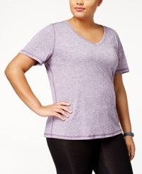Ideology Plus Size Essential V Neck Performance T Shirt Created For Macy's Montana Grape