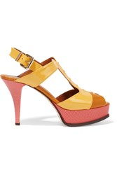 The Fendista Lizard Effect And Patent Leather Sandals Yellow