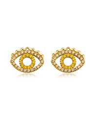 Kenzo Goldtone Mini Eye Earrings W Crystals