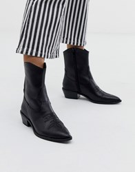 Bershka Western Leather Ankle Boot In Black Black