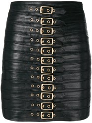 Manokhi Buckled Mini Skirt Leather Polyester Viscose Black