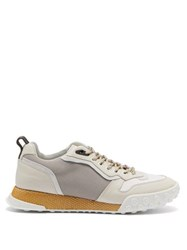 Lanvin Timelapse Contrast Panel Leather Trainers White