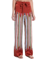 Meng Striped Silk Pajama Trousers Red Pattern