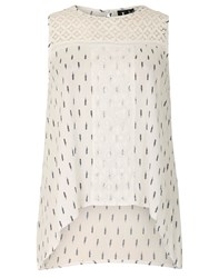 Izabel London Monochrome Top With Lace Panel White