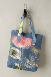Anthropologie Sungarden Mesh Tote Blue