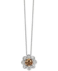 Le Vian Chocolatier Chocolate And White Diamond Flower Pendant Necklace 5 8 Ct. T.W. In 14K White Gold