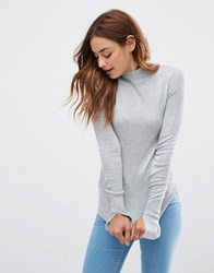 Asos Jumper With Turtle Neck In Soft Yarn Mid Grey