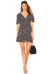 Auguste Edie Cascade Wrap Mini Dress Black
