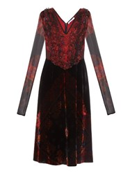 Givenchy Long Sleeved Velvet And Silk Dress