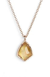 Women's Kendra Scott 'Cory' Semiprecious Stone Pendant Necklace Brown Mop Rose Gold