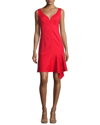 Nanette Lepore Sparkler Sleeveless Stretch Poplin Flounce Dress Cherry Red