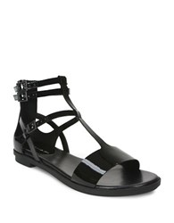 Tahari Wave Flat Leather Sandals Black