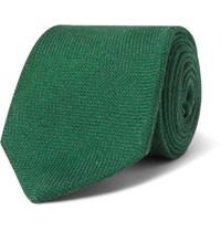 Drakes 8Cm Wool Silk And Cashmere Blend Tie Green