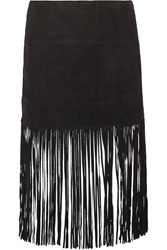Muubaa Fringed Suede Skirt Black