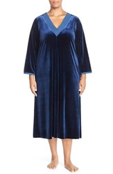 Plus Size Women's Oscar De La Renta Sleepwear Front Zip Velvet Nightgown Navy