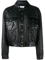 Saint Laurent Cropped Quilted Leather Jacket Black
